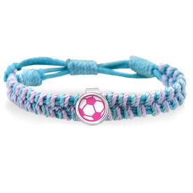 Pink Soccer Ball Adjustable Woven SportSNAPS Bracelet
