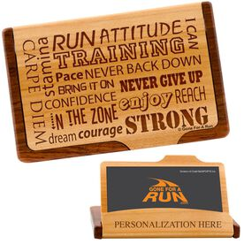 Motivation Words Maple Business Card/Credit Card Holder