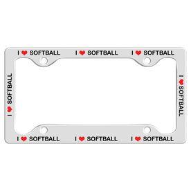 I Love Softball License Plate Holder