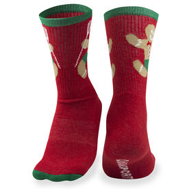 Girls Lacrosse Woven Mid Calf Socks - Gingerbread Man (Red)