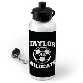 Soccer 20 oz. Stainless Steel Water Bottle Personalized Soccer Ball with Team Name and Number