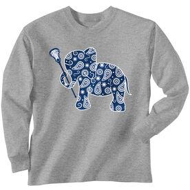 Girls Lacrosse Long Sleeve T-Shirt - Lax Elephant
