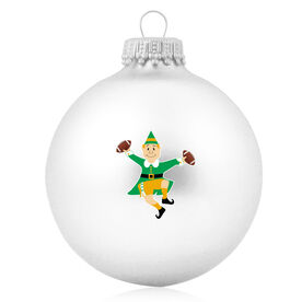 Football Glass Ornament Football Elf