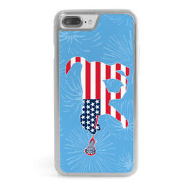 Girls Lacrosse iPhone® Case - Patriotic LuLa the Lax Dog