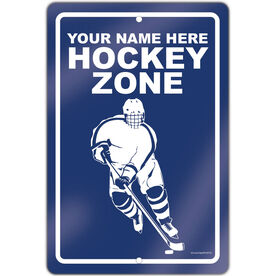 "Hockey Aluminum Room Sign Personalized Hockey Zone Guy (18"" X 12"")"