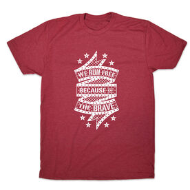 Men's Lifestyle Runners Tee - We Run Free Because Of The Brave