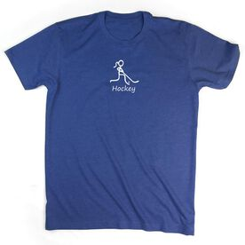 Hockey Tshirt Short Sleeve Hockey Girl White Stick Figure with Word