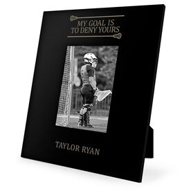 Girls Lacrosse Engraved Picture Frame - My Goal Is To Deny Yours (Goalie)