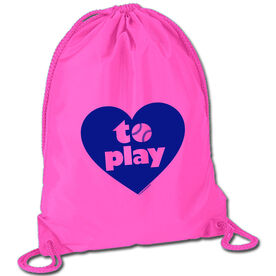 Softball Sport Pack Cinch Sack Heart to Play