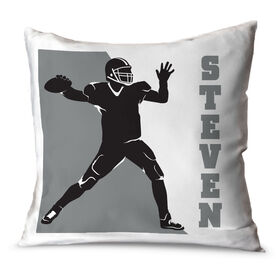 Football Throw Pillow Personalized Football Player Silhouette