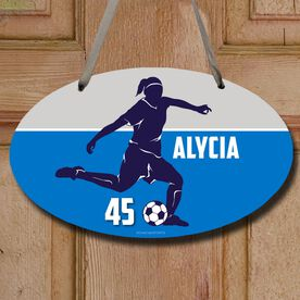Soccer Oval Sign Personalized Soccer Girl Name and Number
