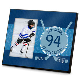 Hockey Personalized Photo Frame Hockey Word Pattern With Crossed Sticks