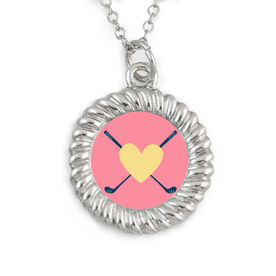 Braided Circle Necklace Golf Heart