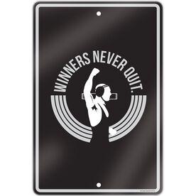 """Wrestling Aluminum Room Sign (18""""x12"""") Winners Never Quit"""