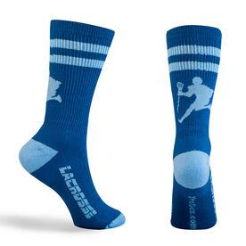 Guys Lacrosse Woven Mid Calf Socks - Player (Royal/Light Blue)
