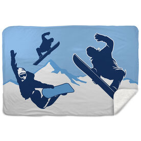 Snowboarding Sherpa Fleece Blanket Airborne Snowboarders
