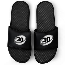 Rugby Black Slide Sandals - Rugby Ball with Number