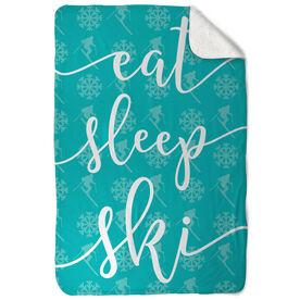 Skiing Sherpa Fleece Blanket Eat Sleep Ski