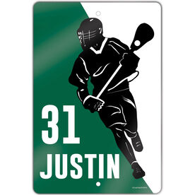 """Lacrosse Aluminum Room Sign (18""""x12"""") Personalized Lacrosse Player Silhouette"""