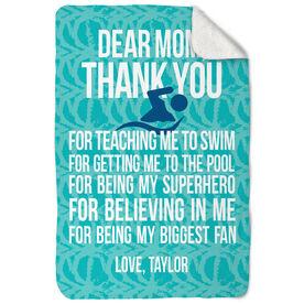 Swimming Sherpa Fleece Blanket Dear Mom