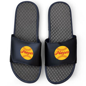 Softball Navy Slide Sandals - Softball Player