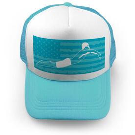 Swimming Trucker Hat - My Patriotic Swimmer (Guy)