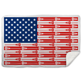 Guys Lacrosse Sherpa Fleece Blanket USA Stick Flag