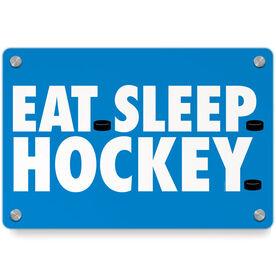 Hockey Metal Wall Art Panel - Eat Sleep Hockey