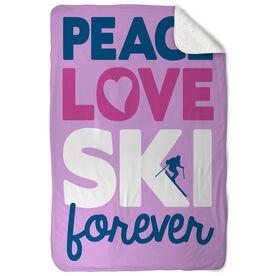 Skiing Sherpa Fleece Blanket Peace Love Ski Forever