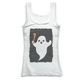 Field Hockey Vintage Fitted Tank Top - Ghost with Field Hockey Stick