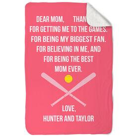 Softball Sherpa Fleece Blanket - Dear Mom Heart