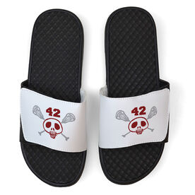 Lacrosse White Slide Sandals - Sticks & Skull with Number