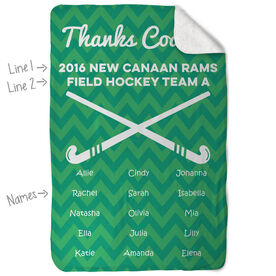 Field Hockey Sherpa Fleece Blanket Personalized Thanks Coach Chevron