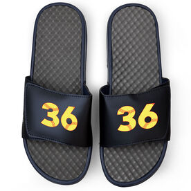 Softball Navy Slide Sandals - Softball Number Stitches