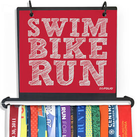 BibFOLIO Plus Race Bib and Medal Display - Swim Bike Run (Stacked)