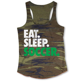 Soccer Camouflage Racerback Tank Top - Eat. Sleep. Soccer.