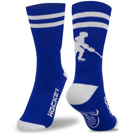 Hockey Woven Mid Calf Socks - Player (Royal Blue/White)
