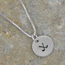 Sterling Silver Half Inch Hand Stamped Hockey Crossed Sticks Charm Necklace