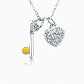 Softball Sparkle Heart Necklace
