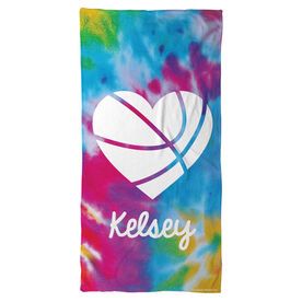 Basketball Beach Towel Personalized Tie Dye Pattern with Heart