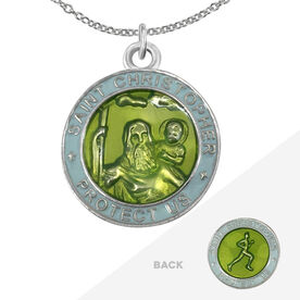 Runners St. Christopher Medal Necklace - Green/Light Blue (2.3cm)