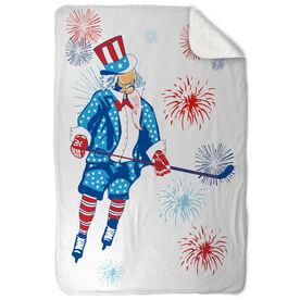 Hockey Sherpa Fleece Blanket Uncle Sam