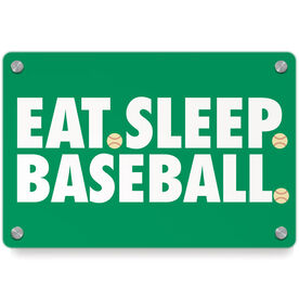 Baseball Metal Wall Art Panel - Eat Sleep Baseball