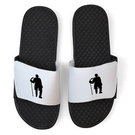 Hockey White Slide Sandals - Hockey Standing Silhouette
