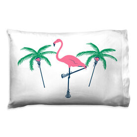 Girls Lacrosse Pillowcase - Palm Trees And Flamingo