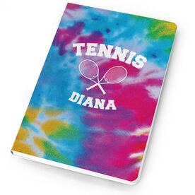Tennis Notebook Tie Dye Pattern with Tennis Rackets