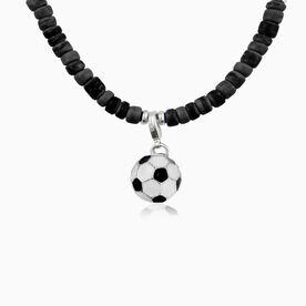 Natural SportBEAD Adjustable Necklace - Enamel Soccer Ball Charm