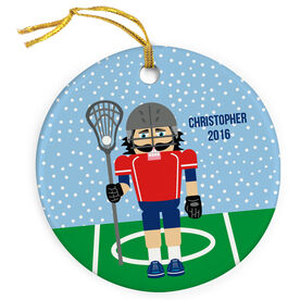 Guys Lacrosse Porcelain Ornament Nutcracker