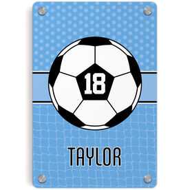 Soccer Metal Wall Art Panel - Personalized 2 Tier Patterns With Ball