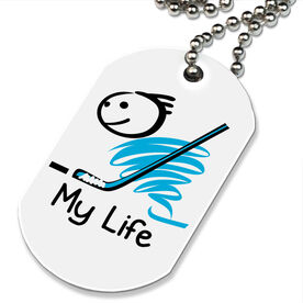 My Life Hockey (Male) Printed Dog Tag Necklace